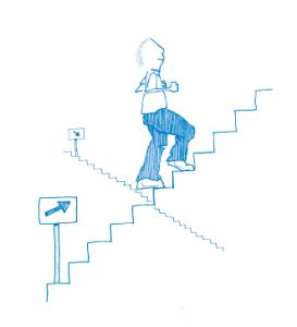 Illustration - går upp för en trappa