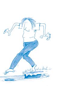 Illustration - att ta ett steg framåt.